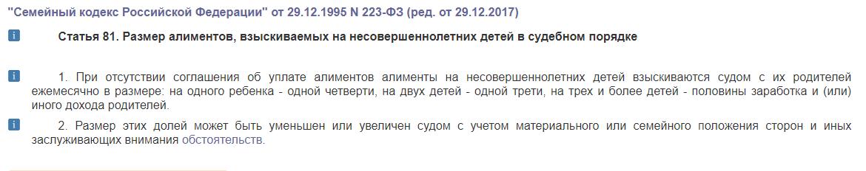 гражданский кодекс алименты