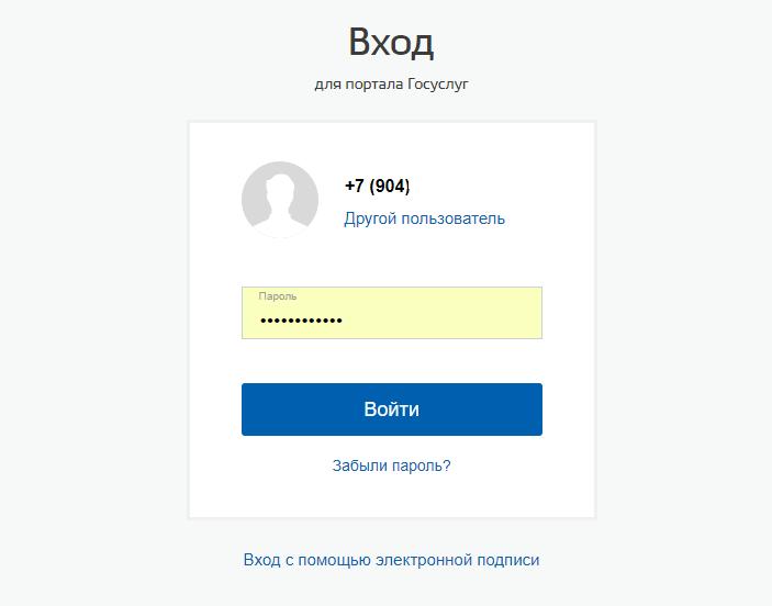 Вводим свой пароль