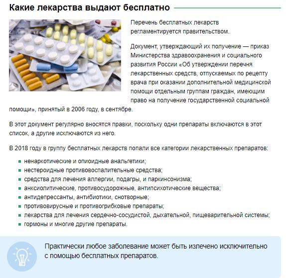 Какие лекарства выдают бесплатно