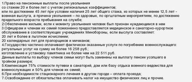 Список льгот для пенсионеров МВД