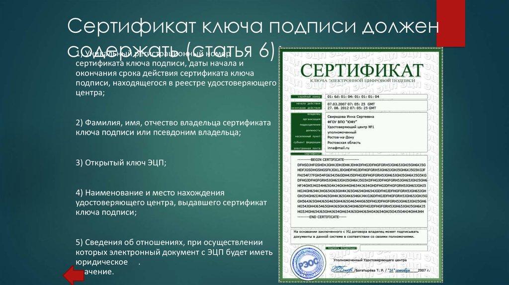 Сертификат подлинности электронной подписи
